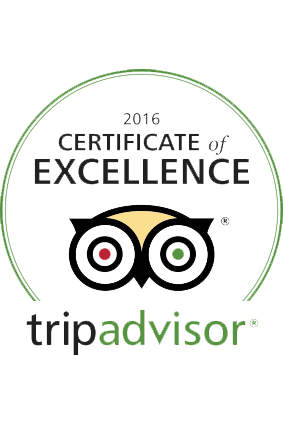 Trip Advisor 2016 Certficate of Excellence